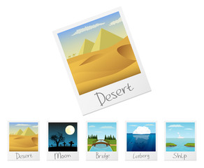 Photo frames with nature landscapes. Set 3. Vector.
