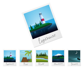 Photo frames with nature landscapes. Set 2. Vector.