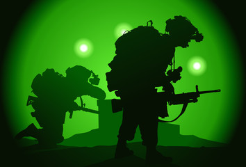 Fotorolgordijn Militair Two US soldiers used night vision goggles