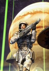 Wall Mural - futuristic soldier starship toroopers