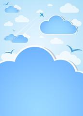 Printed roller blinds Heaven Good weather background. Blue sky