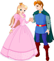 Deurstickers Ridders Beautiful prince and princess