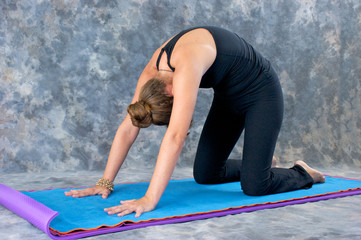 woman doing Yoga posture Marjaryasana or cat pose