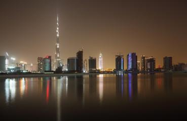 Skyline of Dubai at night, United Arab Emirates