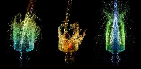 Liquid falling down into the glasses