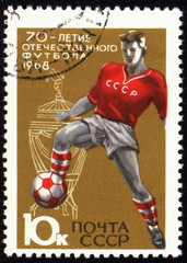 Footballer on post stamp