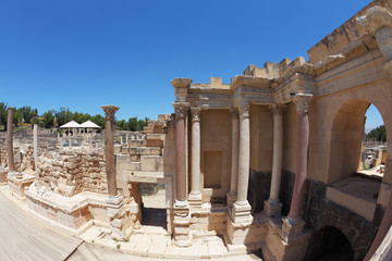 Stone columns in the Roman amphitheater