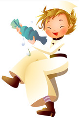 Boy spinning wash cloth