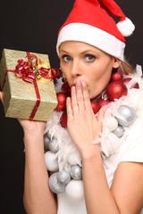 Blondine feiert Weihnachten