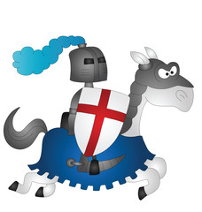 Spoed Foto op Canvas Ridders Cartoon Saint George riding on his horse
