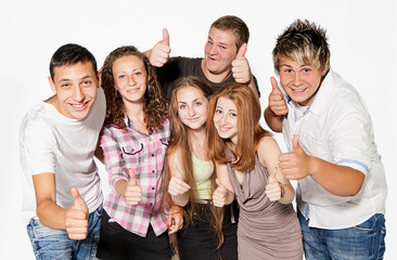 Happy group of young people. Isolated.