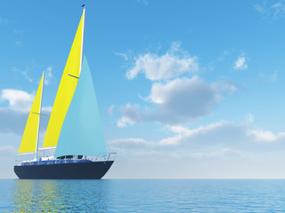 sailing vessel travelling on ocean on background of cloudy sky
