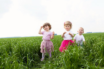 Portrait of a little children outdoors