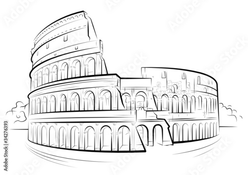 Vector Drawing Black And White Colosseum Rome Italy Stock Image