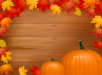 Autumn background with pumpkins. Vector illustration.
