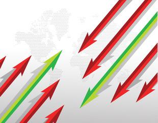 Arrows going in opposite directions. illustration design