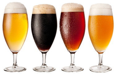 Wall Mural - Four glasses with different beers