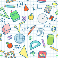 Seamless pattern: Mathematics at school (color)