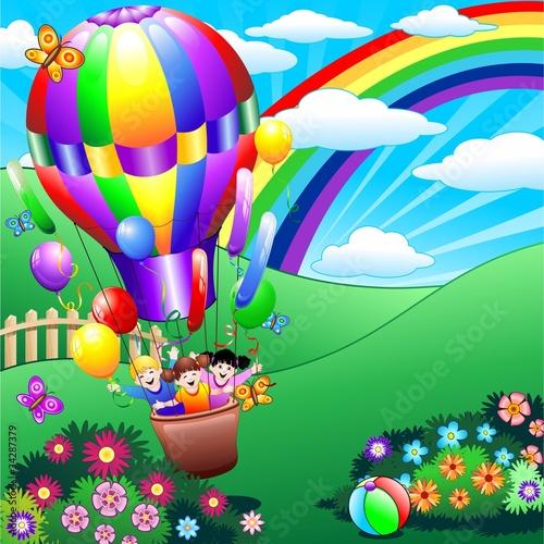 u0026quot;Bambini giocano in Mongolfiera Children Playing in Fire Balloon u0026quot; Immagini e vettoriali Royalty     -> Lampadari Bambini Mongolfiera