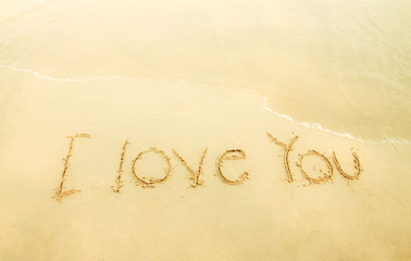 I love you on sand and beach