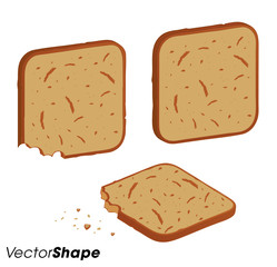 Toasted bread pieces,whole and bitten piece with crumbs
