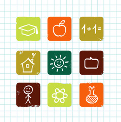Doodle school & education icons collection isolated on white