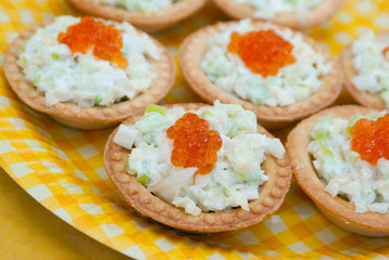 Tartlet with red caviar