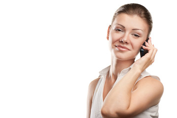 young beautiful business woman with phone