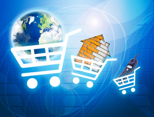 Shopping basket with earth, house, phone