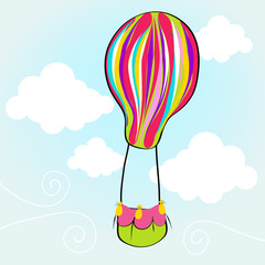 Cute hot air balloon flying in the sky