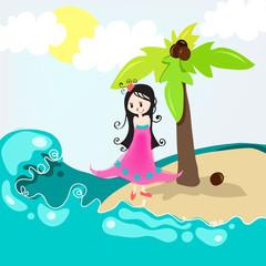 Cute girl on a tropical beach