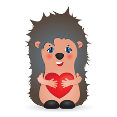 Cute little hedgehog holding red heart - cartoon illustration