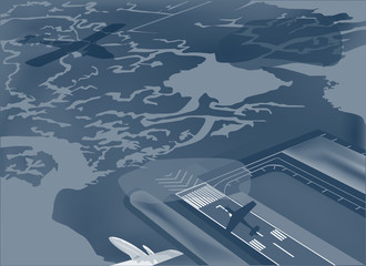 airport and plans illustration