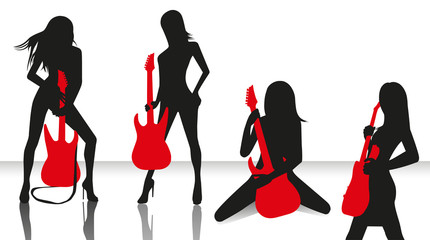 girls band with guitars
