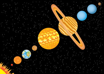 Garden Poster Cosmos Planets standing in line