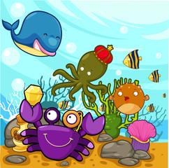 Poster Submarine illustration Enjoyed under the sea