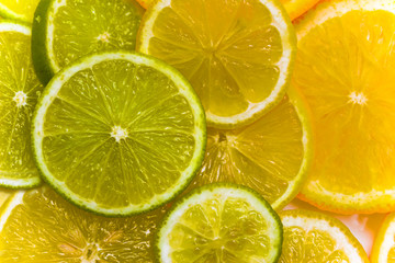 Slices of the orange, the lime and the lemon
