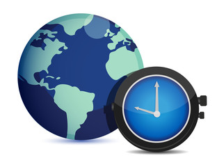 Globe with clock. international time illustration