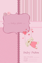 Baby Girl Arrival Card with Photo Frame and place for your text