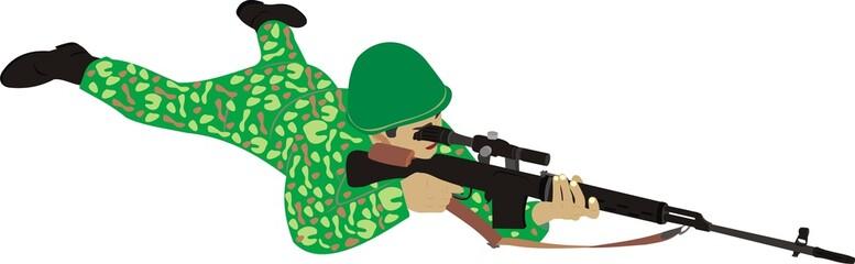 Fotorolgordijn Militair Меткий снайпер
