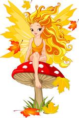 Photo sur Plexiglas Monde magique Autumn Fairy on the Mushroom