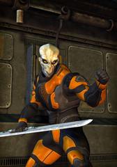 futuristic soldier alien warrior