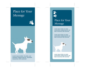 4X9 two Sided Rack Card with Dog, inkl. crop marks, vector
