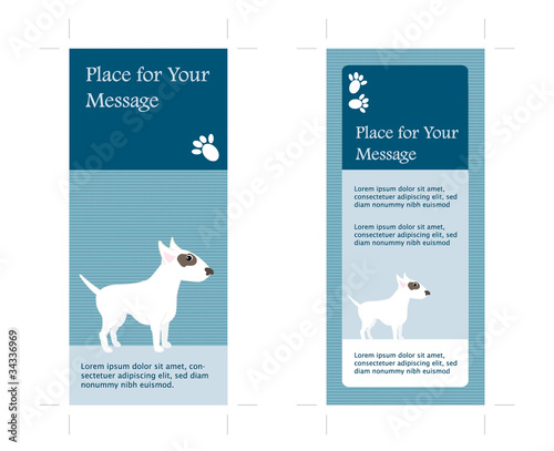 4x9 two sided rack card with dog inkl crop marks vector stock