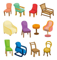 cartoon chair furniture icon set.