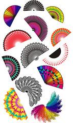 Set of  hand fans