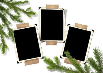 Photo-framework retro and Christmas tree