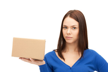 attractive businesswoman with cardboard box