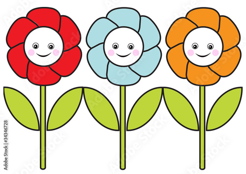 Set Of Isolated Flowers With Happy Faces