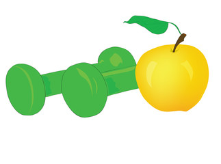 Sports dumbbells with a juicy apple.
